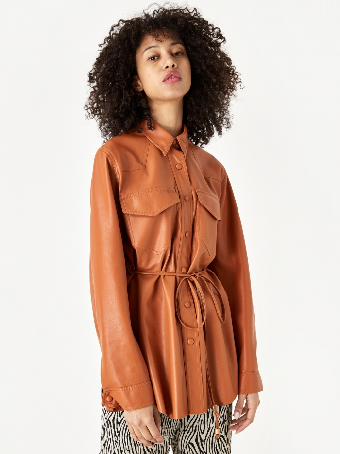 Nanushka Eddy Vegan Leather Longsleeve Shirt - Burnt Orange (Image 1)