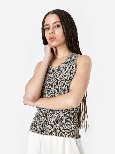 Antia Sleeveless Top - Zebra Block Print