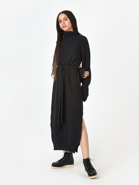 Canaan Rib Knit Dress - Charcoal