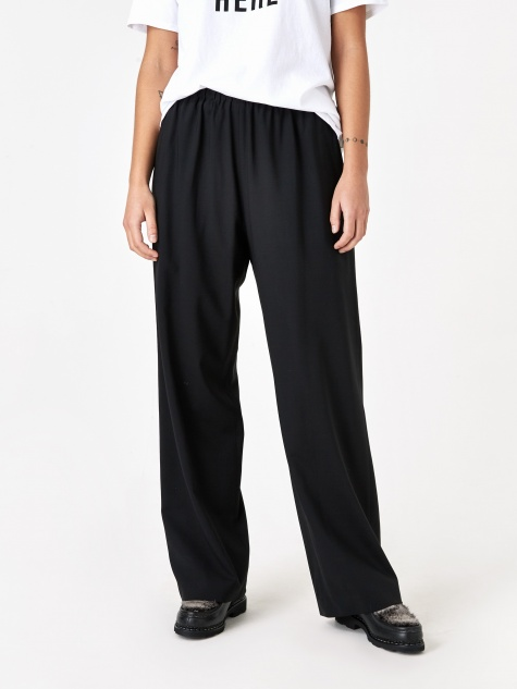 Long Wide Leg Pull On Trouser - Black