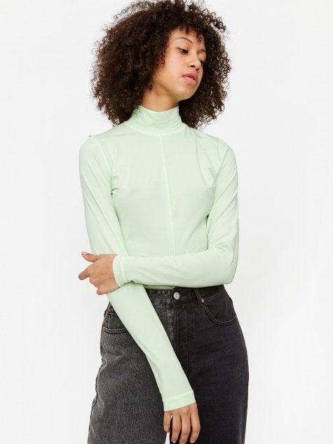 Light Stretch Jersey Longsleeve Top - Patina Green