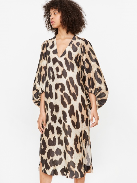 Silk Linen Dress - Maxi Leopard