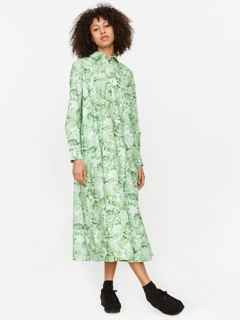 Printed Cotton Poplin Dress - Island Green