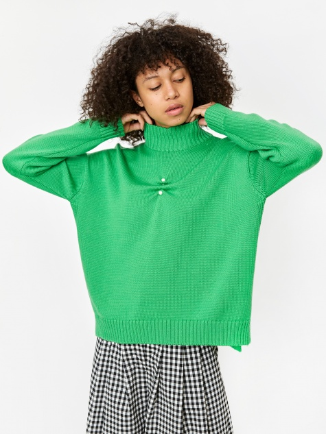 Wool Knit High Neck Jumper - Island Green