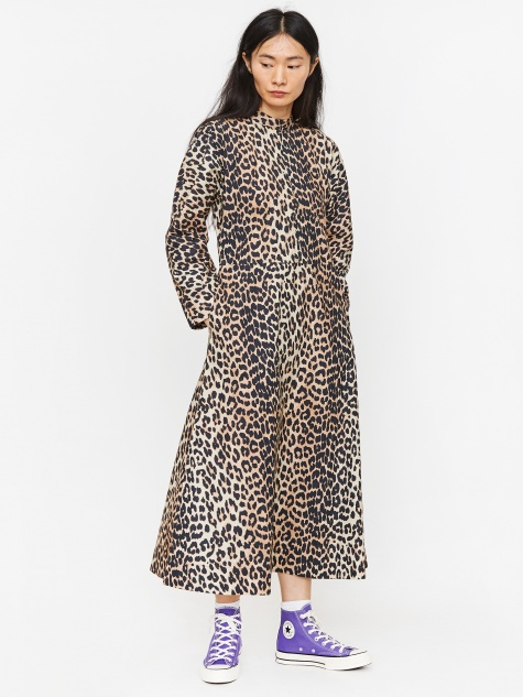 Printed Cotton Poplin Dress - Leopard