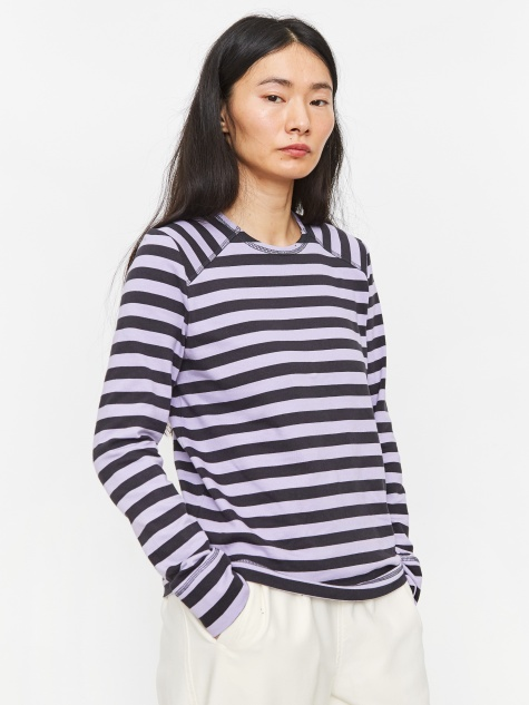 Striped Cotton Longsleeve Top - Violet Tulip