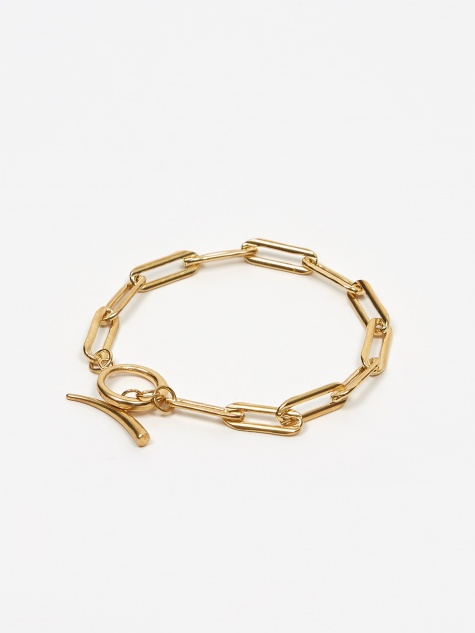Rectangle Link Chain Bracelet With Tusk Clasp -