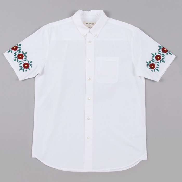 YMC Poplin Embroidered Shirt - White (Image 1)