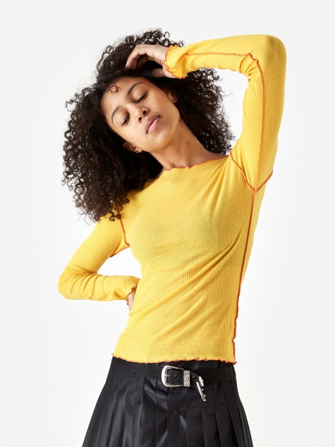 Vein Cotton Rib Longsleeve Top - Yellow