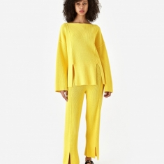 Baserange Ware Knit Trouser - Yellow