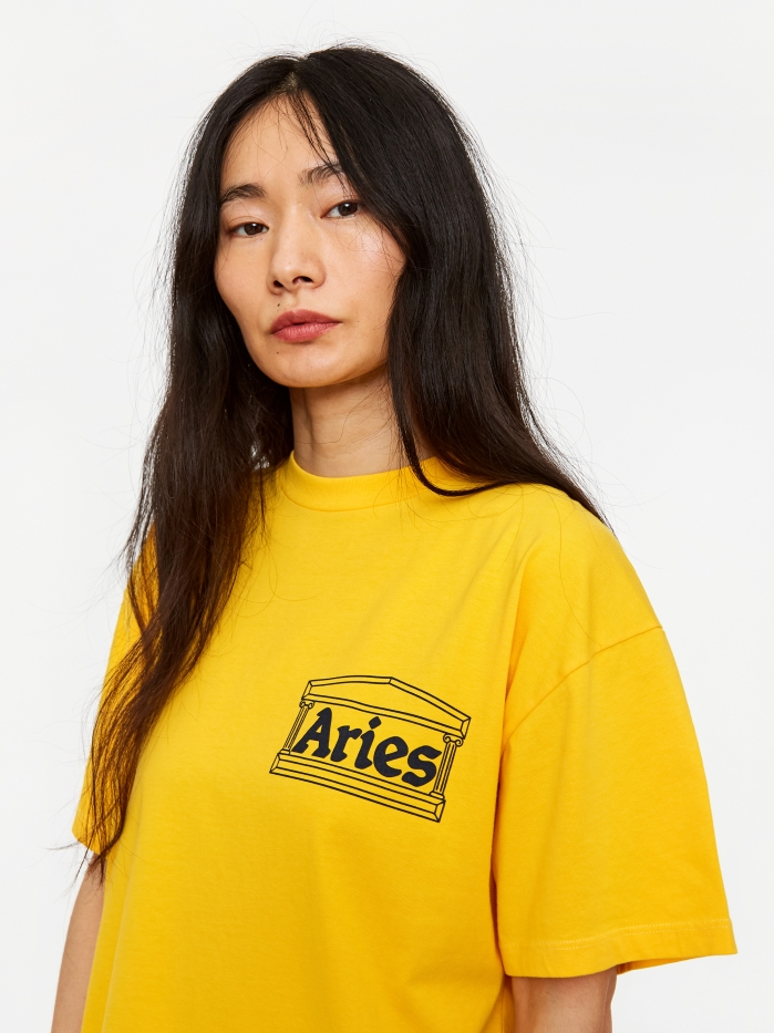 Aries Classic Temple Shortsleeve T-Shirt - Yellow (Image 1)