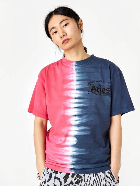 Tie Dye Half And Half Shortsleeve T-Shirt - Blue/Fuchsia