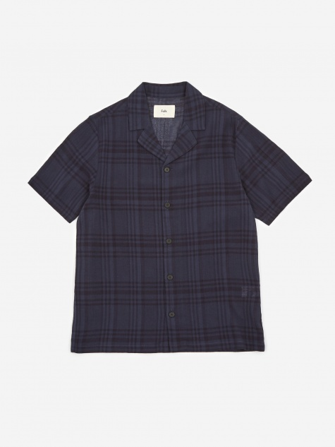 Soft Collar Shortsleeve Shirt - Navy Overdyed Check