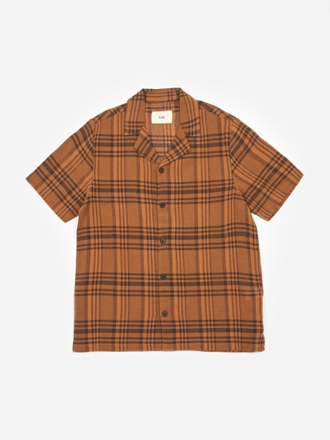 Soft Collar Shortsleeve Shirt - Teak Overdyed Check