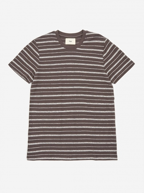 Textured Stripe Shortsleeve Shirt - Charcoal Ecru