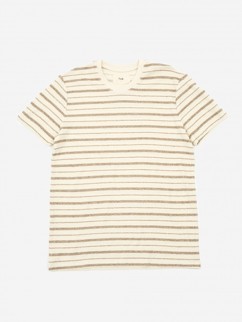 Textured Stripe Shortsleeve Shirt - Ecru Woad