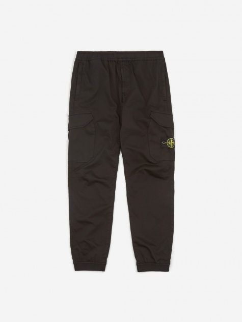 Stretch Cotton Wool Trouser - Black