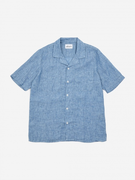 Revere Collar Shortsleeve Shirt - Light Blue