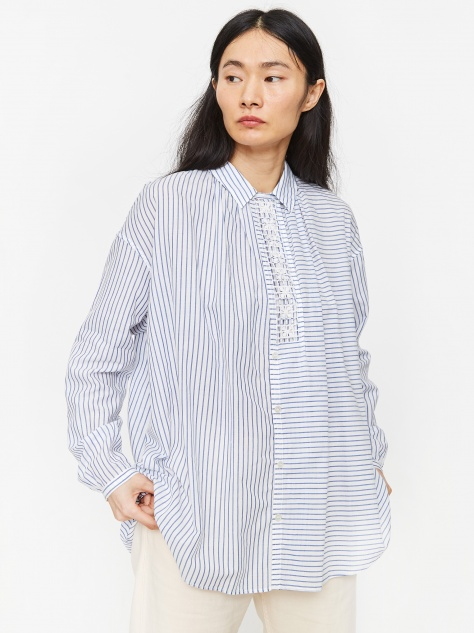 Hand Embroidery Blouse - Light Blue