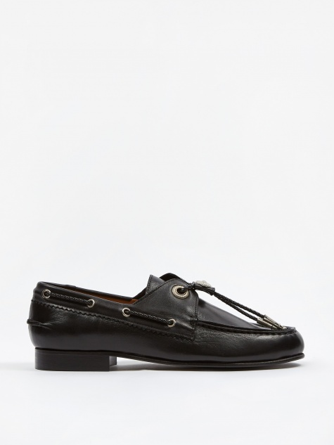 PULLA Embossed Leather Loafer - Black