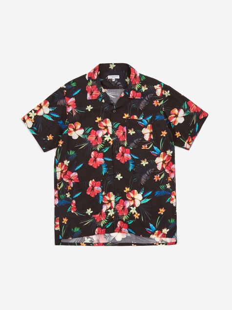 Camp Shirt - Black Tropical Flora