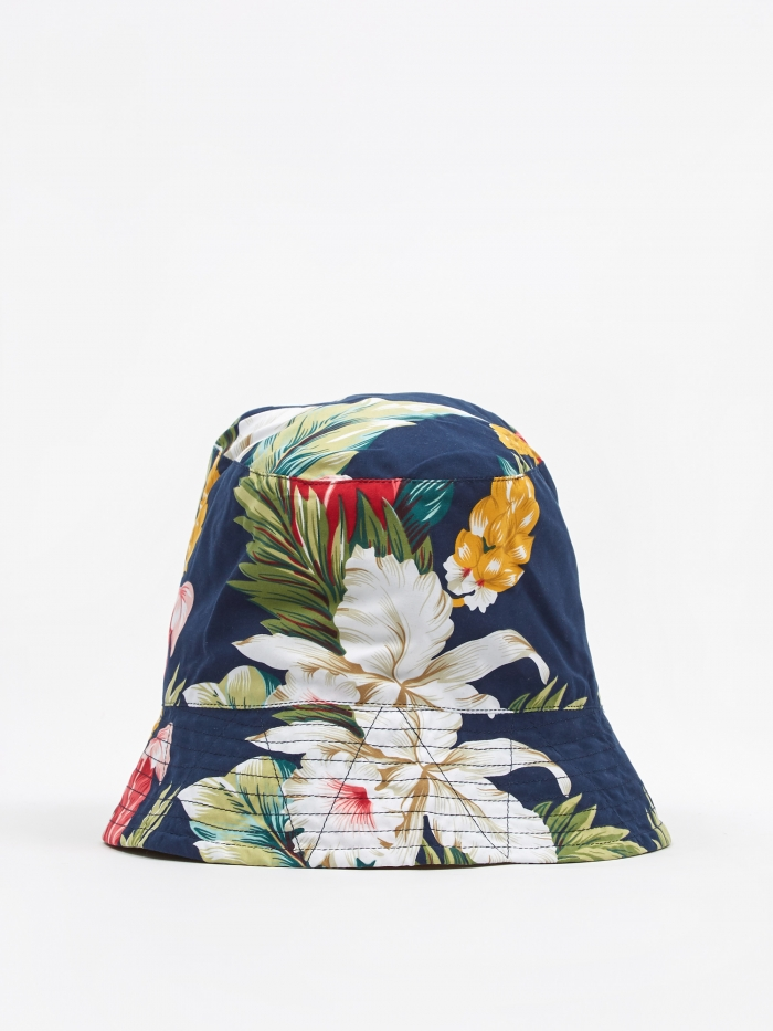 Engineered Garments Bucket Hat - Navy Hawaiian Floral (Image 1)