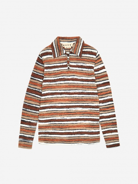 Printed Yarn Pullover Knit Jumper - Brown Mix