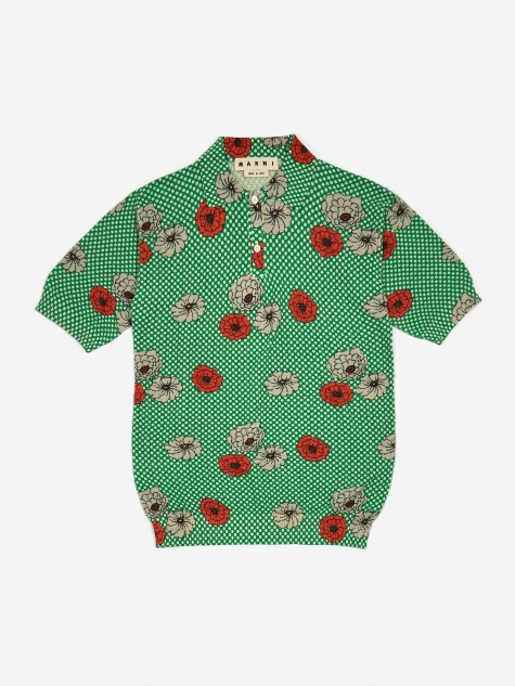 Print Knit Polo Knit Jumper - Green Flower Print