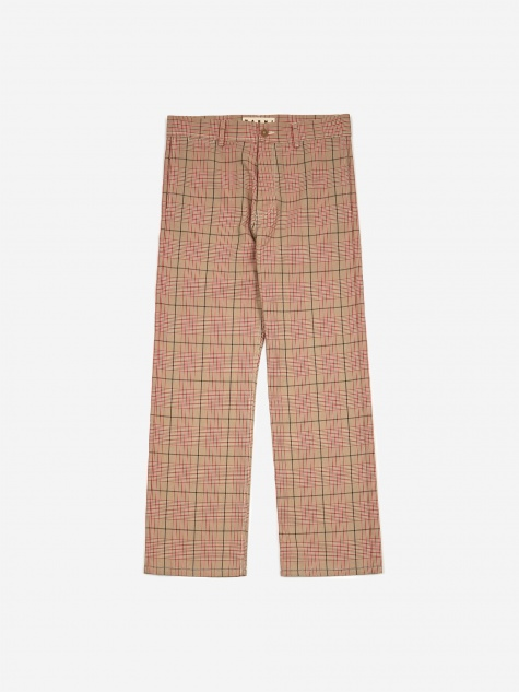 Cotton Overcheck Trouser - Red Check