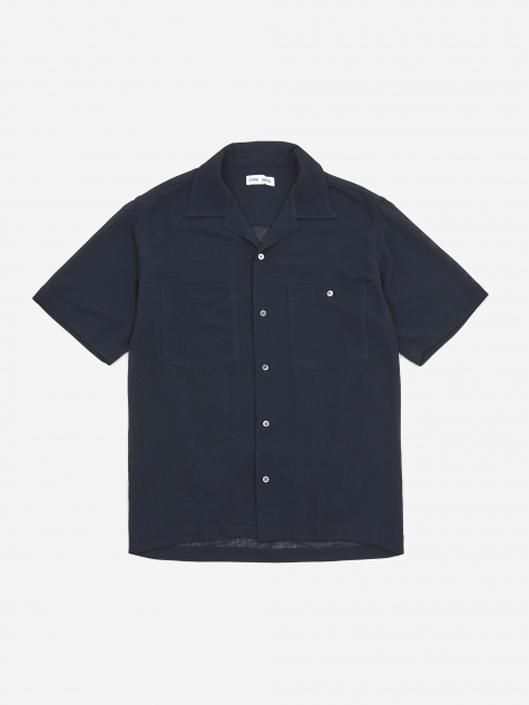 Dexter Camp Collar Shortsleeve Shirt - Navy