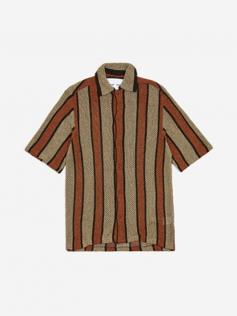 Wes Knitted Shortsleeve Shirt - Brown/Gold
