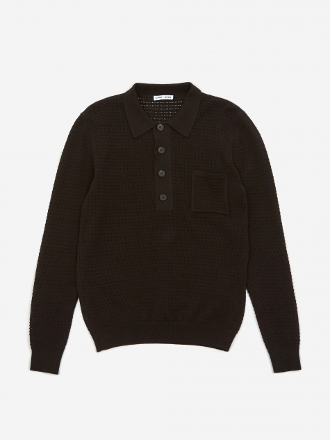 Curtis Crochet Knit Polo Shirt - Black