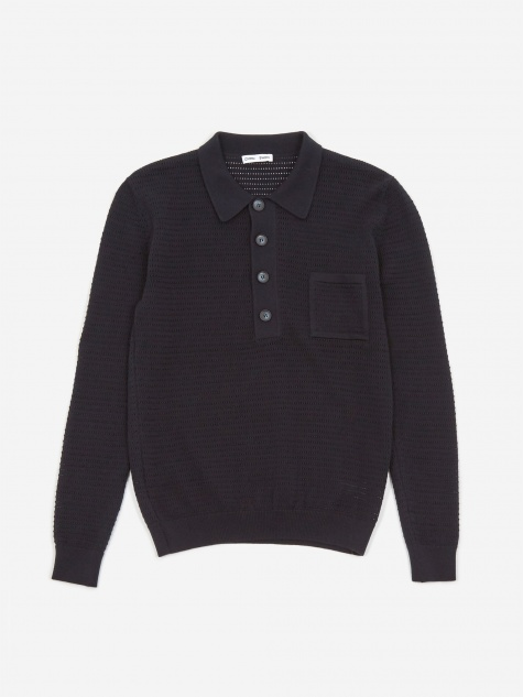 Curtis Crochet Knit Polo Shirt - Navy