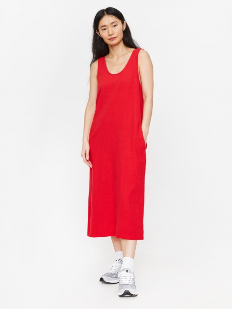 Basic Linen Dress - Red