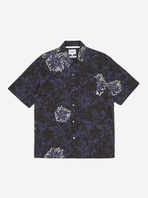 Carsten Flower Print Shirt - Twilight Blue