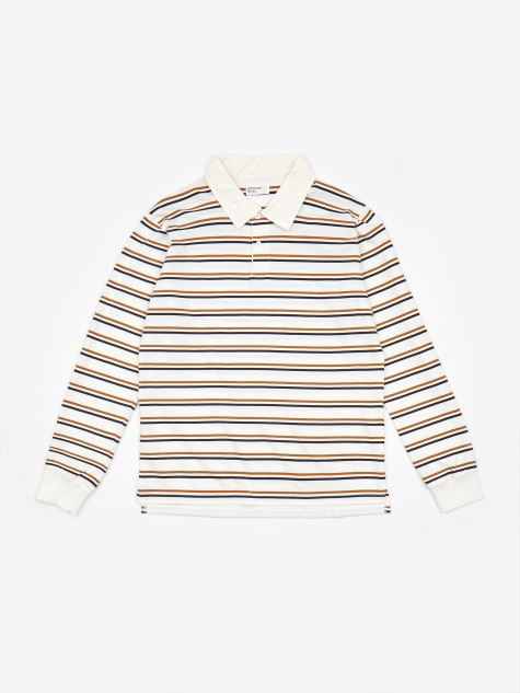 Narrow Stripe Rugby Shirt - Ecru