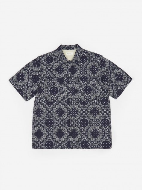 Utility Shortsleeve Shirt - Bandana Cotton Navy