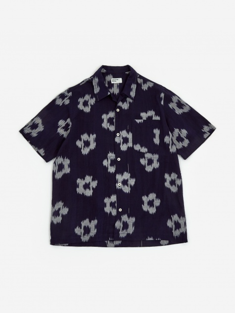 Road Shirt - Ikat Flower Indigo