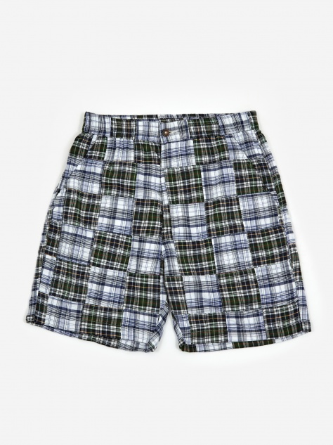 Track Short - Patchwork Madras Blue