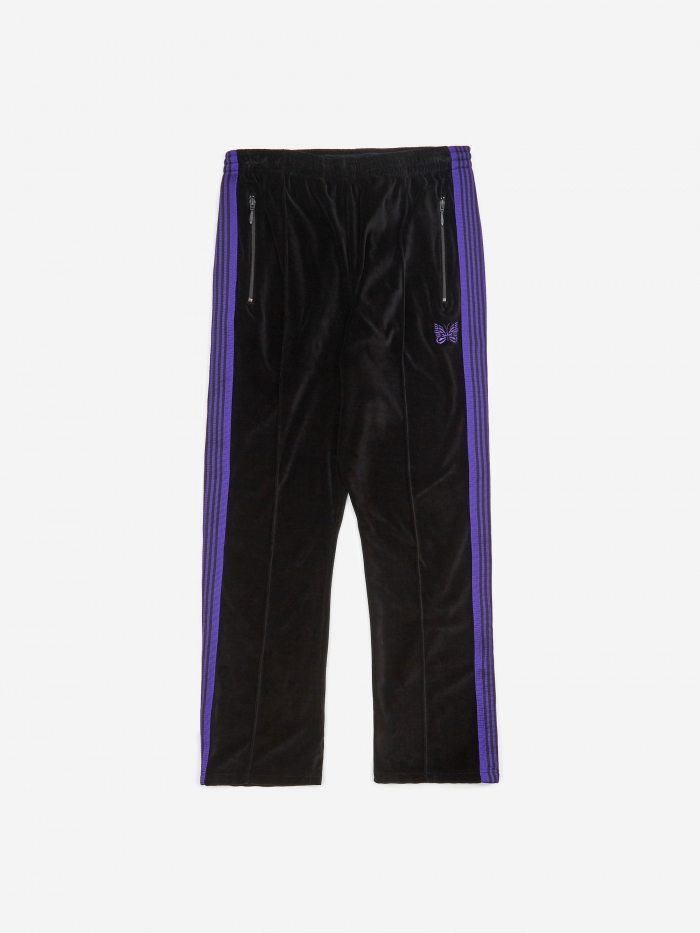 Needles Narrow Track Pant Velour - Black (Image 1)