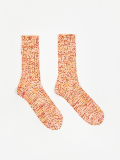 5 colour Mix Crew Sock - Orange/Off White