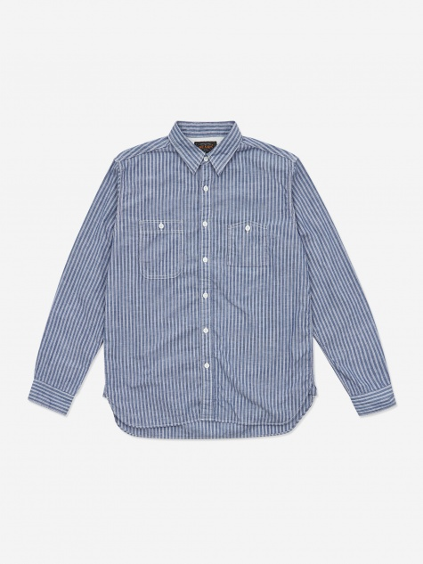 Cotton Linen Stripe Work Shirt - Blue
