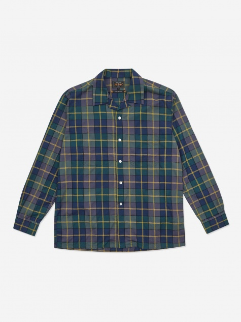 Open Collar Dobby Pen Check Shirt - Navy