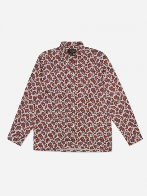 Open Collar B.D Tattersall Print Paisley Shirt - Red