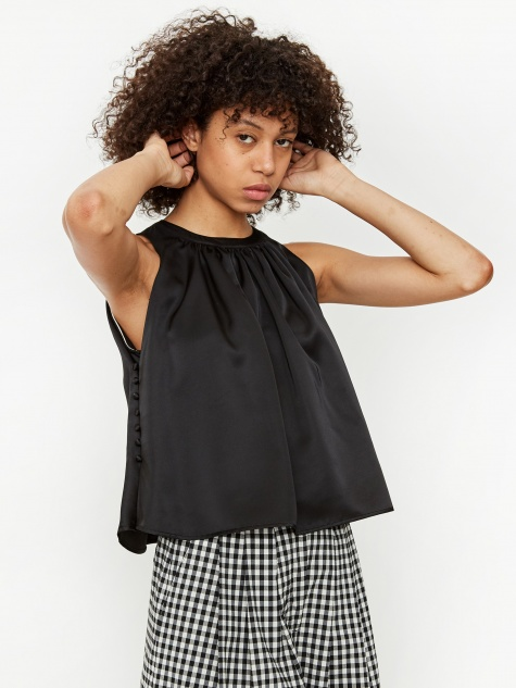 Flared Silky Top - Black
