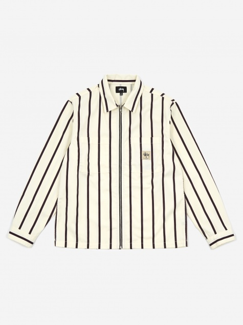 Zip Up Work Shirt - Stripe