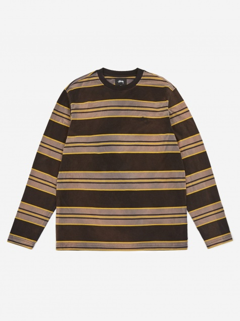Bleach Stripe Longsleeve Crewneck T-Shirt - Black