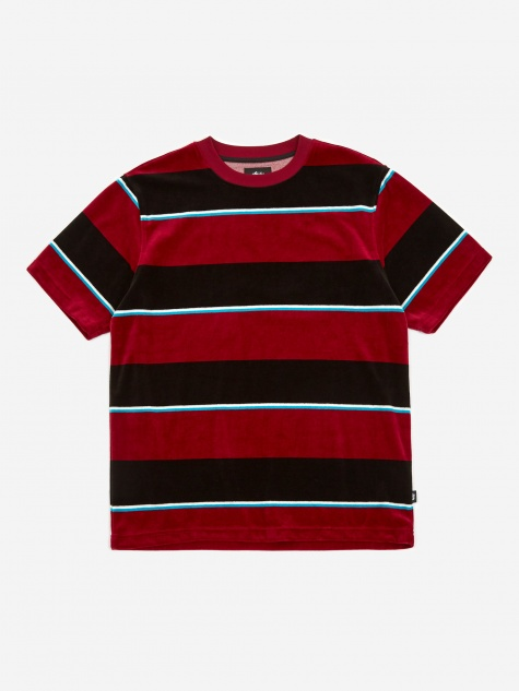 Velour Stripe Crewneck T-Shirt - Wine
