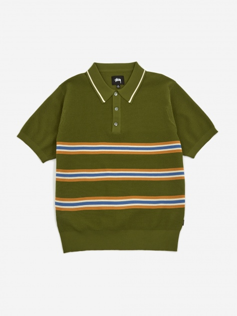 Montenegro Stripe Shortsleve Polo Shirt - Green