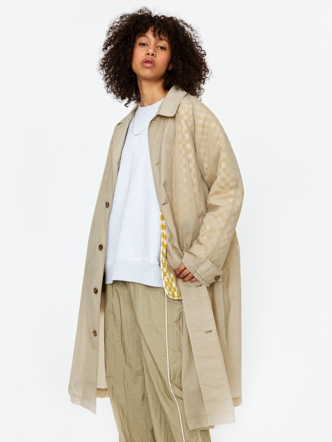 Oversized Coat - Light Beige/Yellow